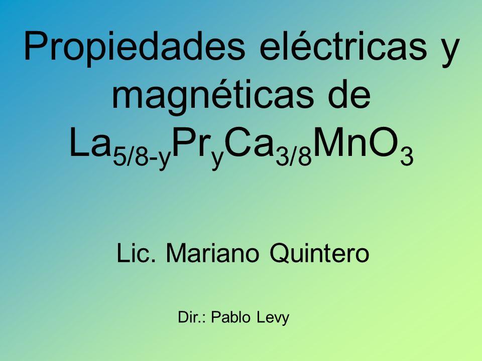 Propiedades eléctricas y magnéticas de La5/8-yPryCa3/8MnO3