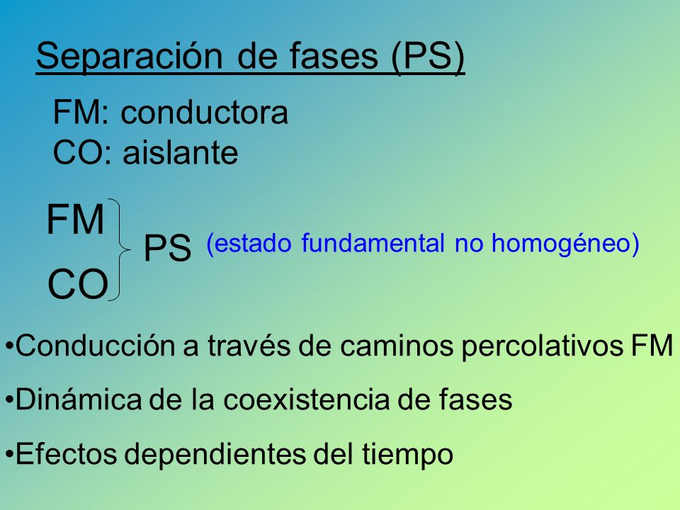 FM CO Separación de fases (PS) PS FM: conductora CO: aislante