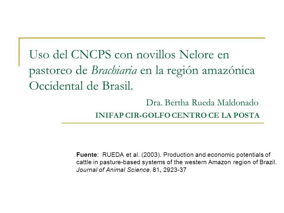 Uso del CNCPS con novillos Nelore en pastoreo de Brachiaria en la región amazónica Occidental de Brasil. Dra. Bertha Rueda Maldonado INIFAP CIR-GOLFO CENTRO CE LA POSTA