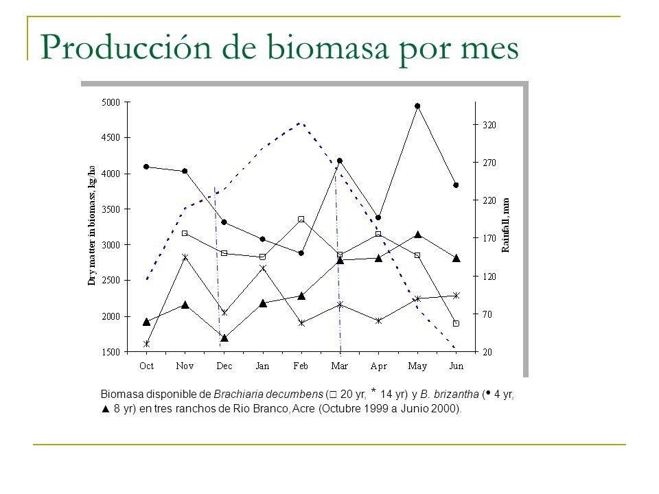 Producción de biomasa por mes