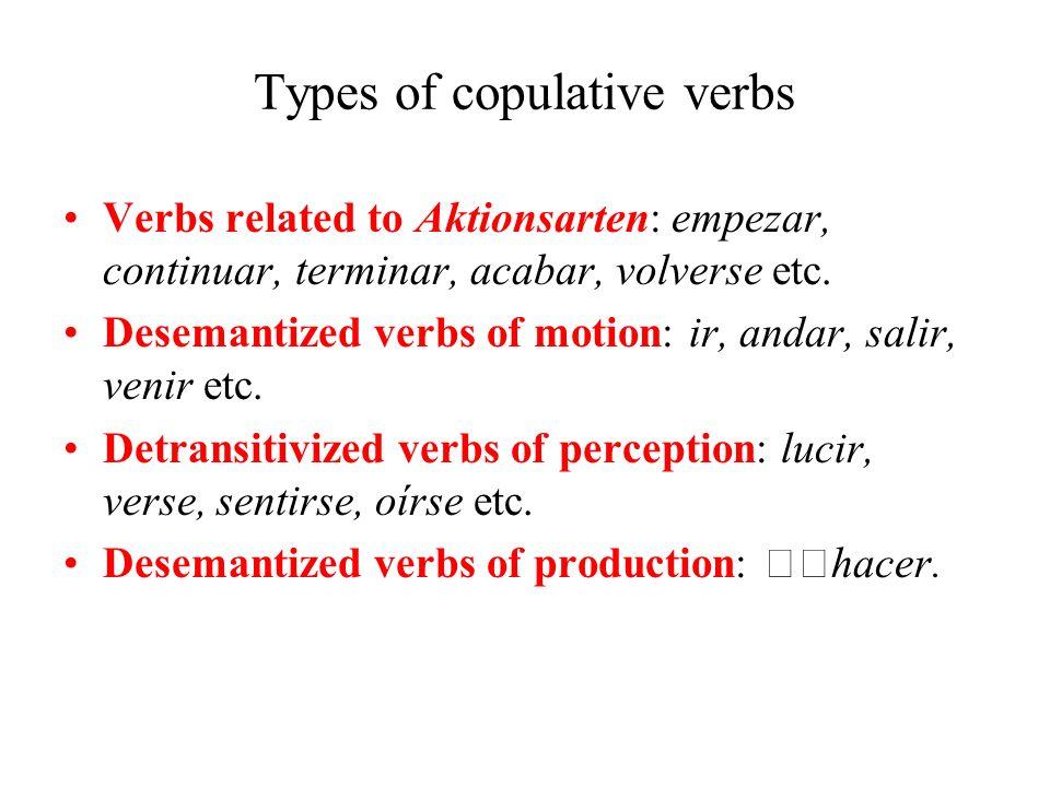 Types of copulative verbs