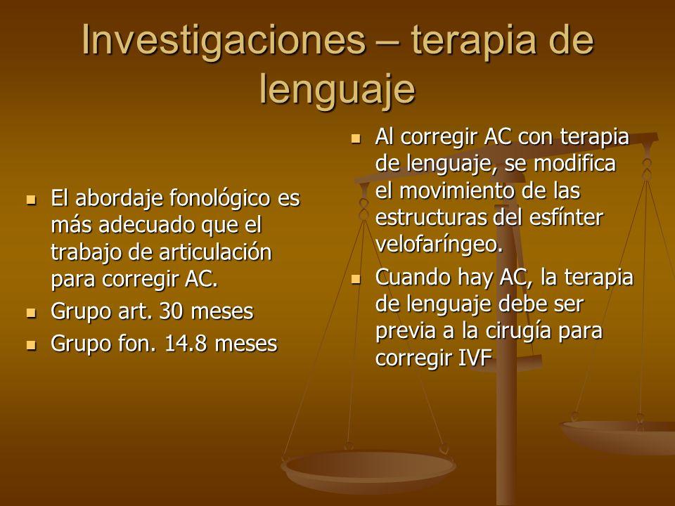 Investigaciones – terapia de lenguaje