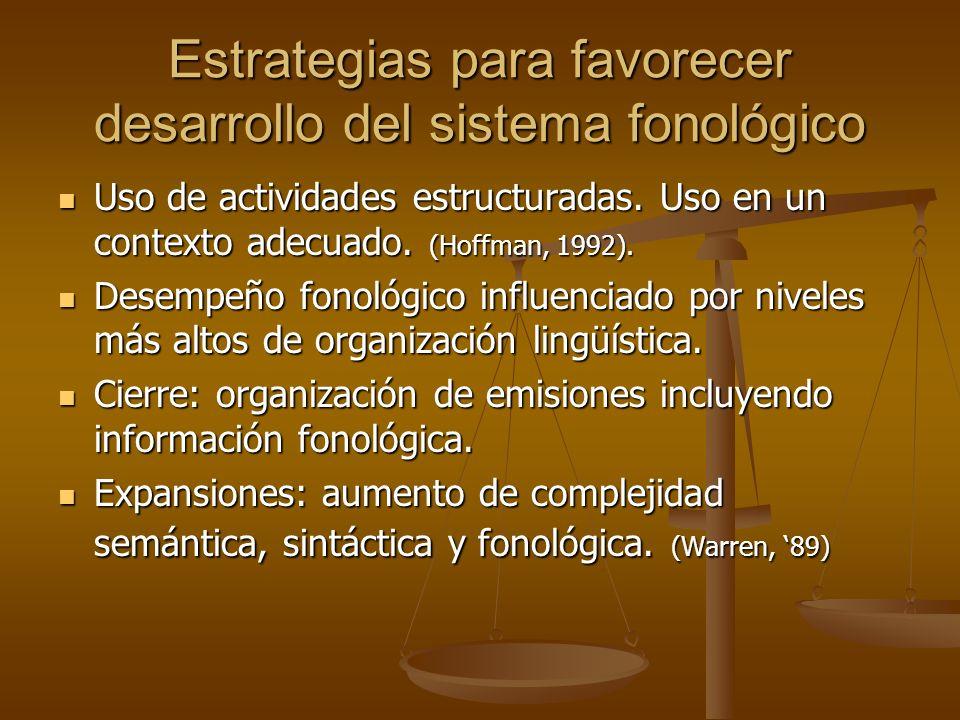 Estrategias para favorecer desarrollo del sistema fonológico