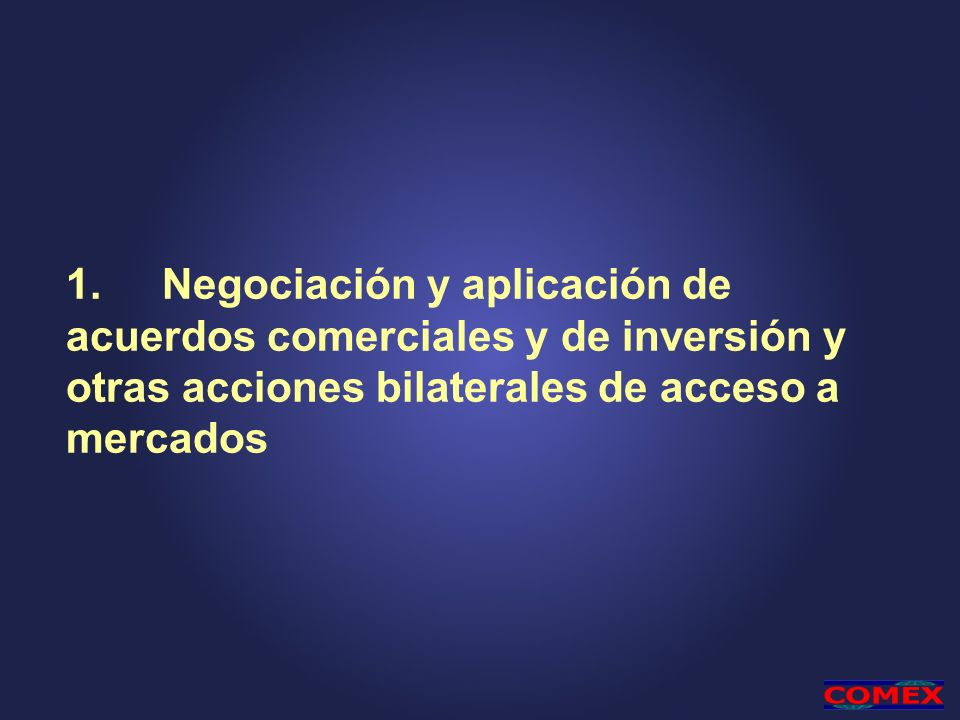 1. Negociación y aplicación de acuerdos comerciales y de inversión y otras acciones bilaterales de acceso a mercados