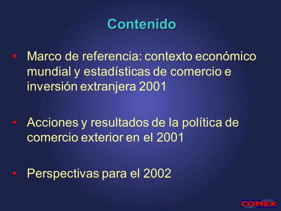 Contenido Marco de referencia: contexto económico mundial y estadísticas de comercio e inversión extranjera 2001.