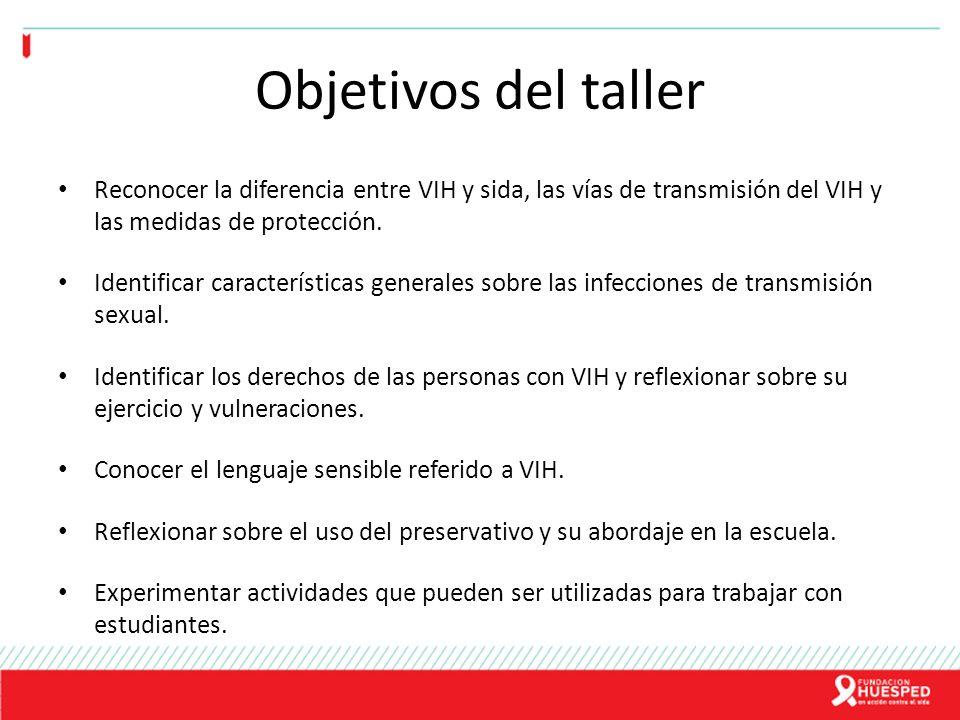 Objetivos del taller Reconocer la diferencia entre VIH y sida, las vías de transmisión del VIH y las medidas de protección.