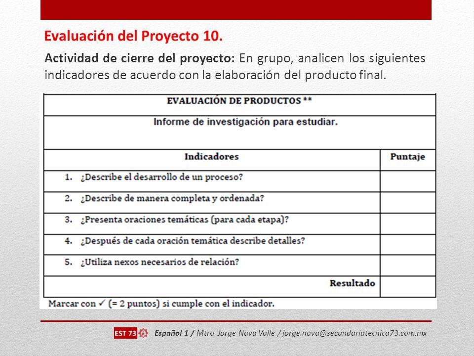 Evaluación del Proyecto 10.