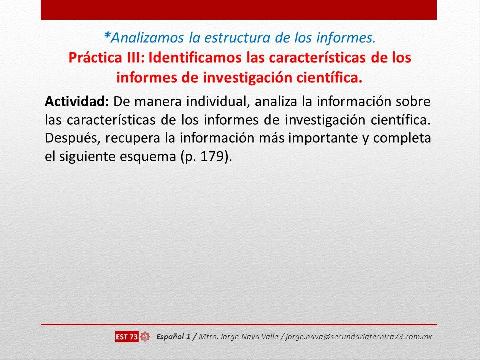 Analizamos la estructura de los informes