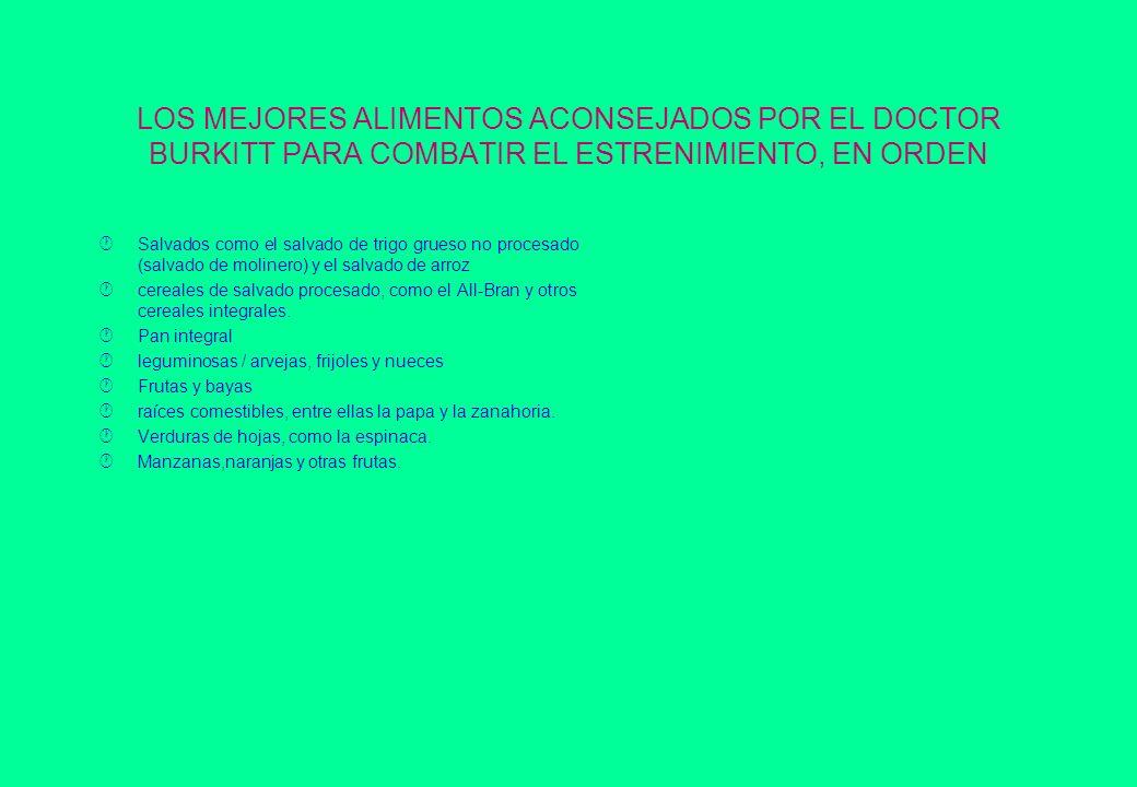 LOS MEJORES ALIMENTOS ACONSEJADOS POR EL DOCTOR BURKITT PARA COMBATIR EL ESTRENIMIENTO, EN ORDEN