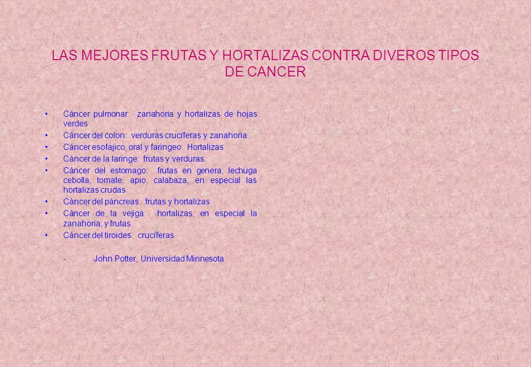 LAS MEJORES FRUTAS Y HORTALIZAS CONTRA DIVEROS TIPOS DE CANCER