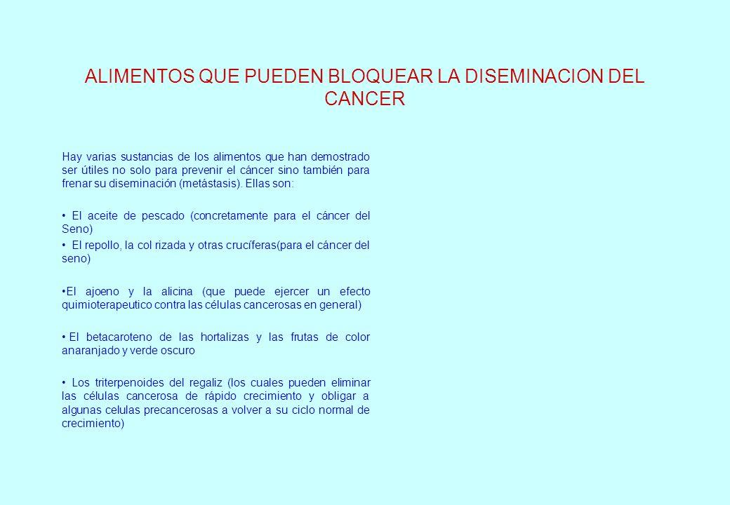 ALIMENTOS QUE PUEDEN BLOQUEAR LA DISEMINACION DEL CANCER