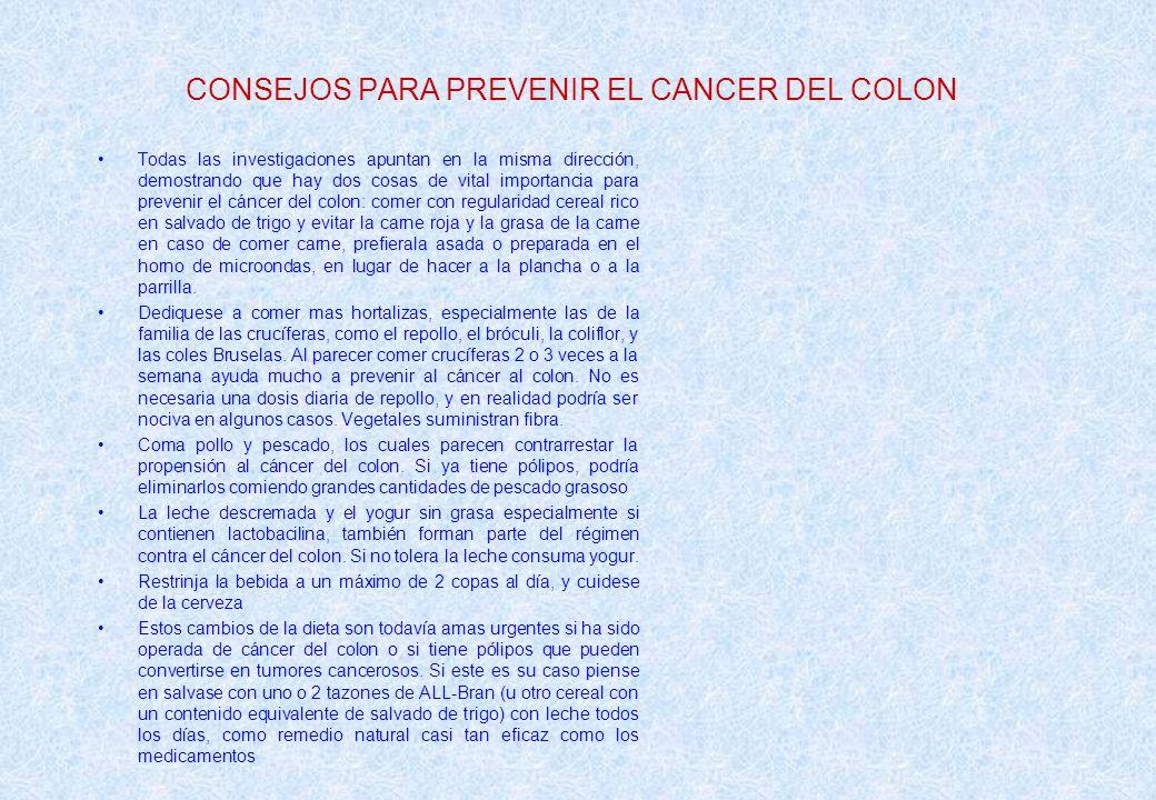 CONSEJOS PARA PREVENIR EL CANCER DEL COLON
