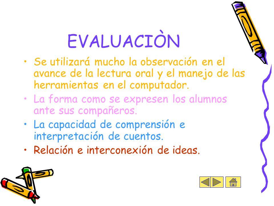 EVALUACIÒN Se utilizará mucho la observación en el avance de la lectura oral y el manejo de las herramientas en el computador.