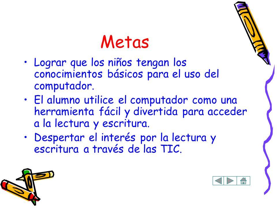 Metas Lograr que los niños tengan los conocimientos básicos para el uso del computador.
