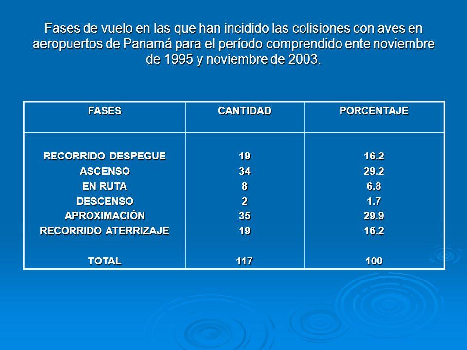 Fases de vuelo en las que han incidido las colisiones con aves en aeropuertos de Panamá para el período comprendido ente noviembre de 1995 y noviembre de 2003.