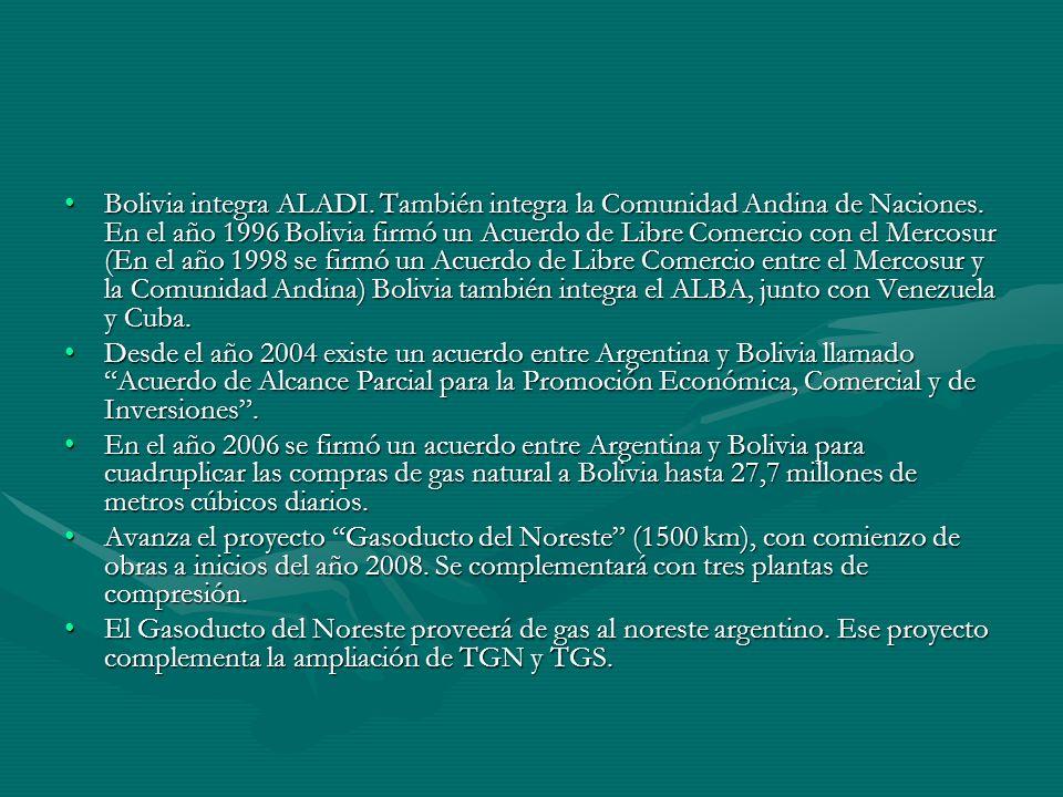 Bolivia integra ALADI. También integra la Comunidad Andina de Naciones