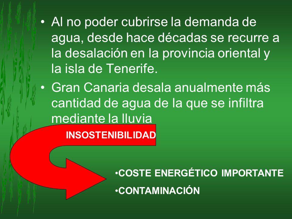 Al no poder cubrirse la demanda de agua, desde hace décadas se recurre a la desalación en la provincia oriental y la isla de Tenerife.