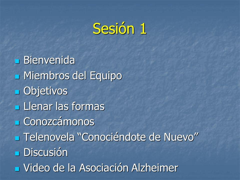 Sesión 1 Bienvenida Miembros del Equipo Objetivos Llenar las formas