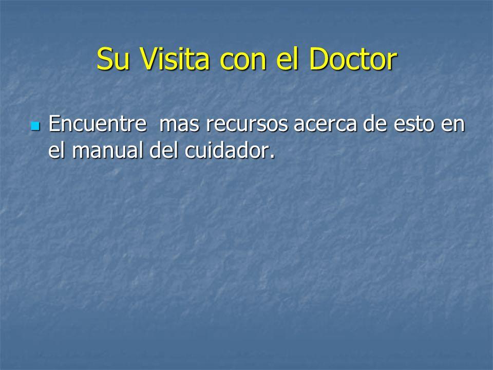 Su Visita con el Doctor Encuentre mas recursos acerca de esto en el manual del cuidador.