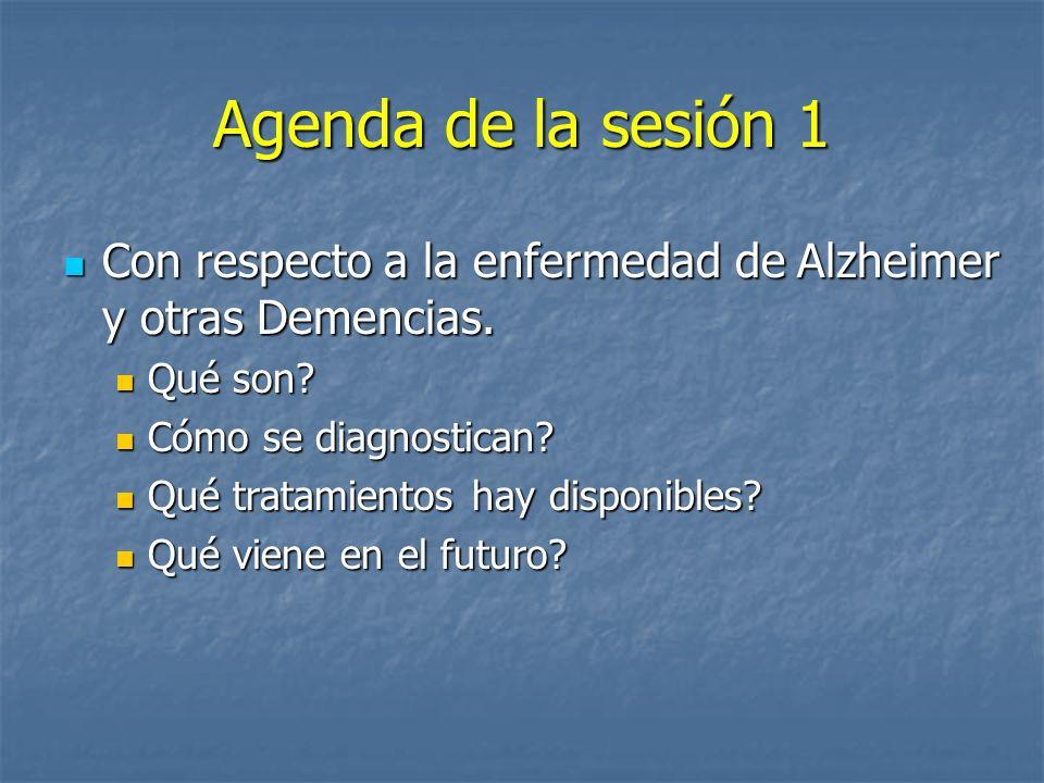 Agenda de la sesión 1 Con respecto a la enfermedad de Alzheimer y otras Demencias. Qué son Cómo se diagnostican