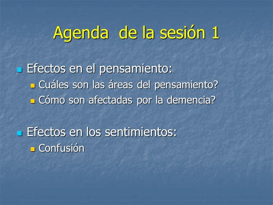 Agenda de la sesión 1 Efectos en el pensamiento: