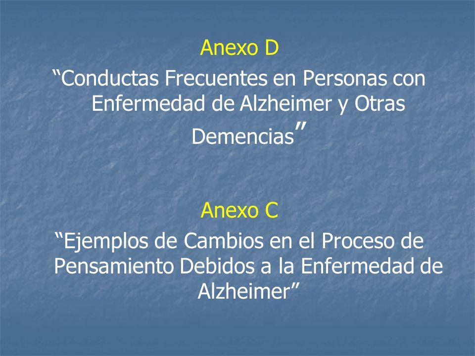 Anexo D Conductas Frecuentes en Personas con Enfermedad de Alzheimer y Otras Demencias Anexo C.