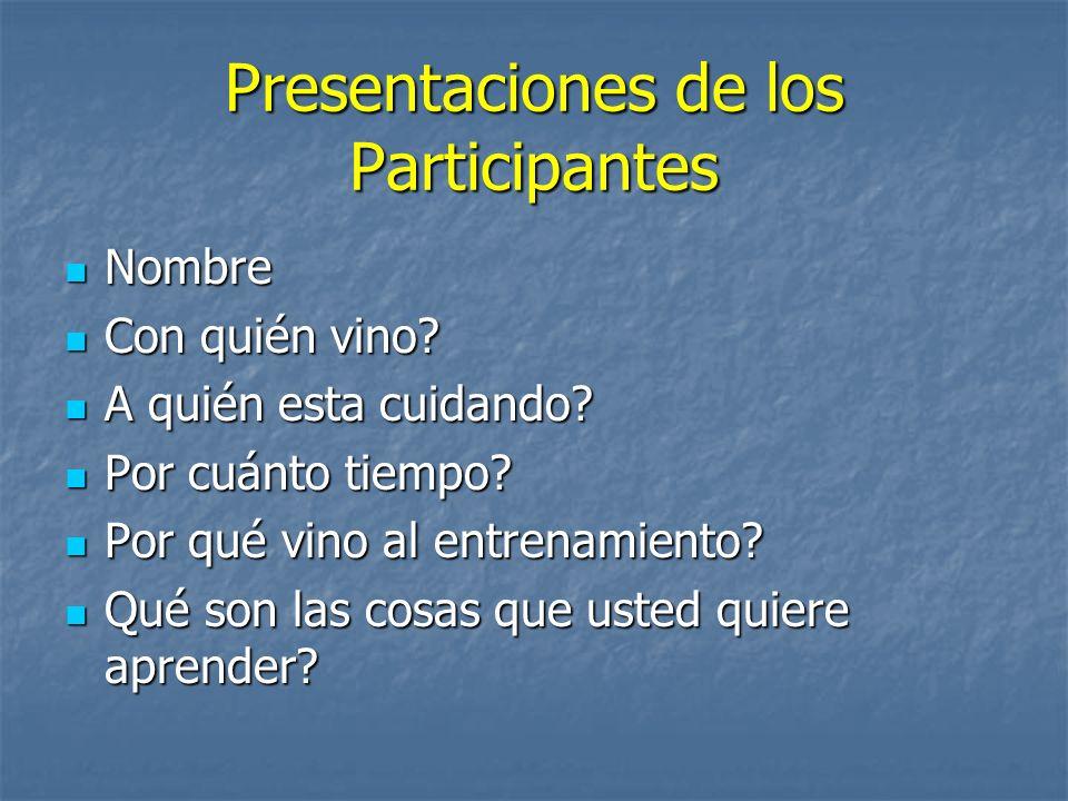 Presentaciones de los Participantes