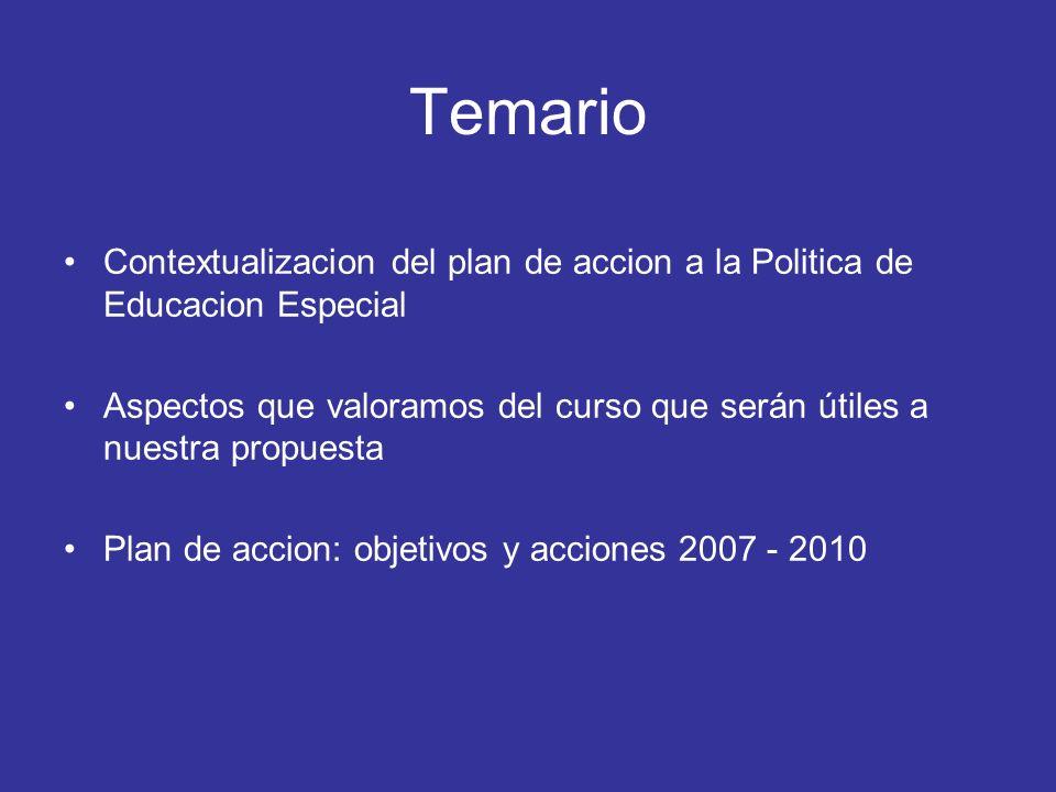 Temario Contextualizacion del plan de accion a la Politica de Educacion Especial.