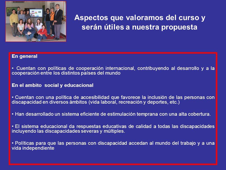 Aspectos que valoramos del curso y serán útiles a nuestra propuesta