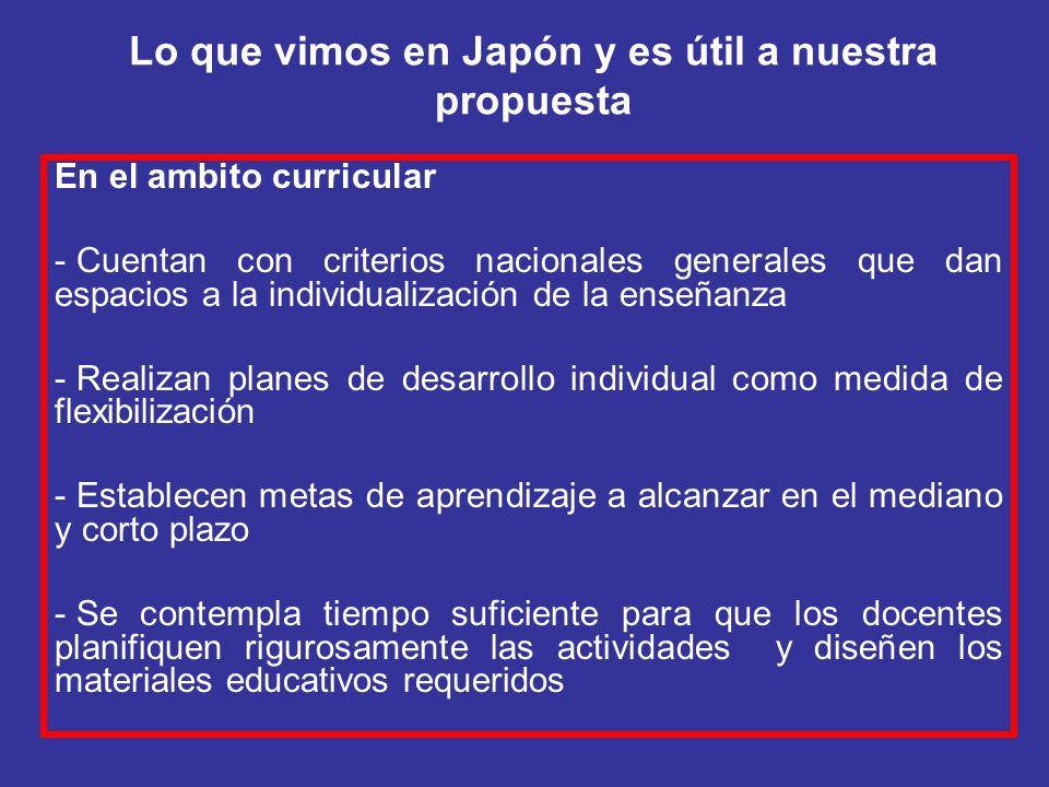 Lo que vimos en Japón y es útil a nuestra propuesta
