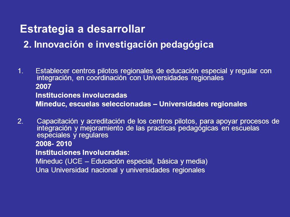 Estrategia a desarrollar 2. Innovación e investigación pedagógica