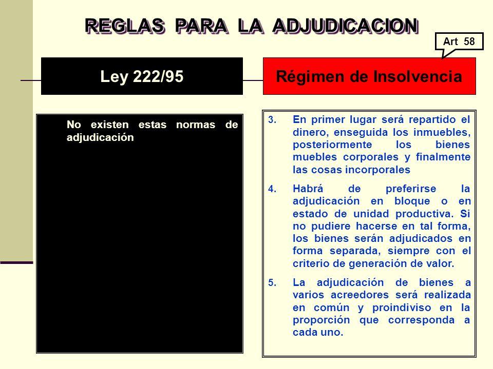 REGLAS PARA LA ADJUDICACION Régimen de Insolvencia