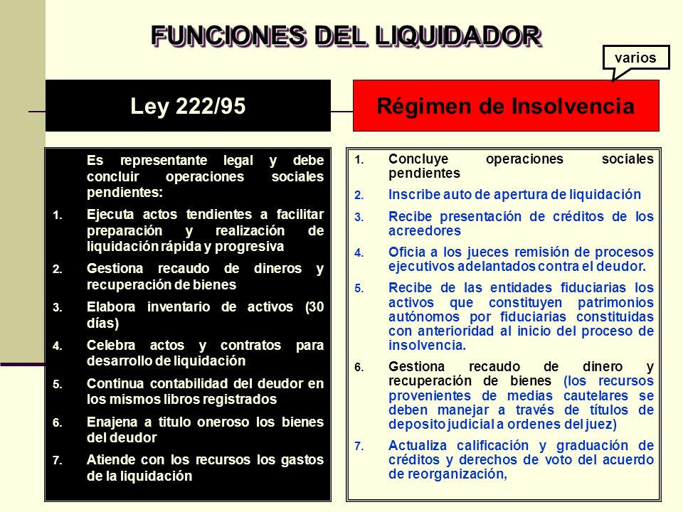 FUNCIONES DEL LIQUIDADOR Régimen de Insolvencia
