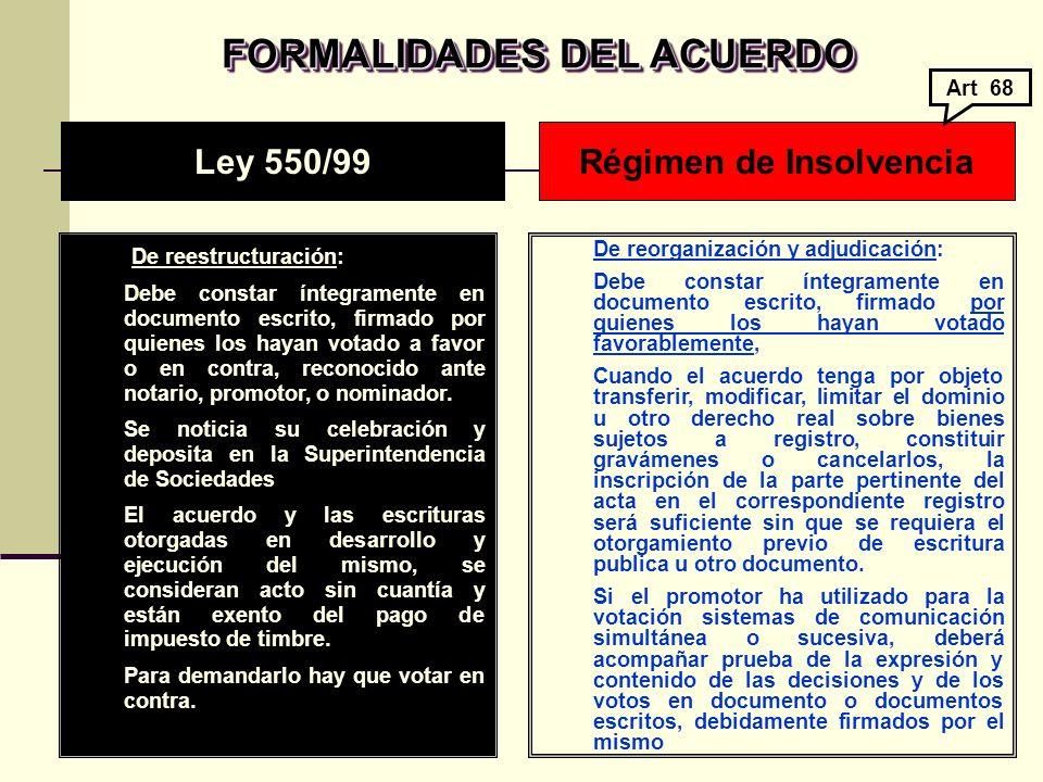 FORMALIDADES DEL ACUERDO Régimen de Insolvencia