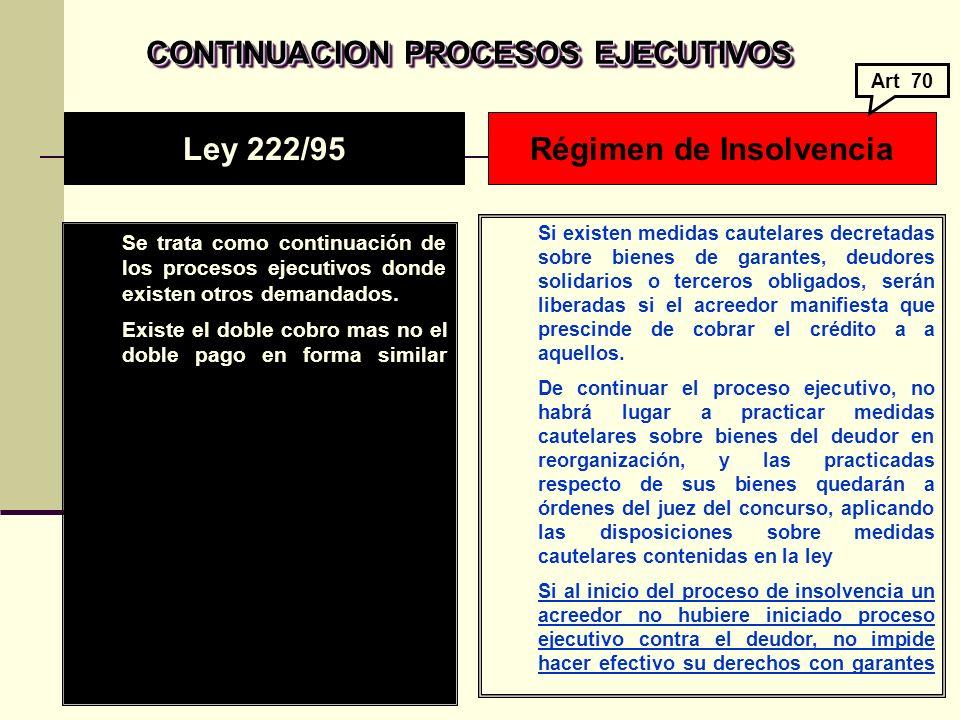 CONTINUACION PROCESOS EJECUTIVOS Régimen de Insolvencia
