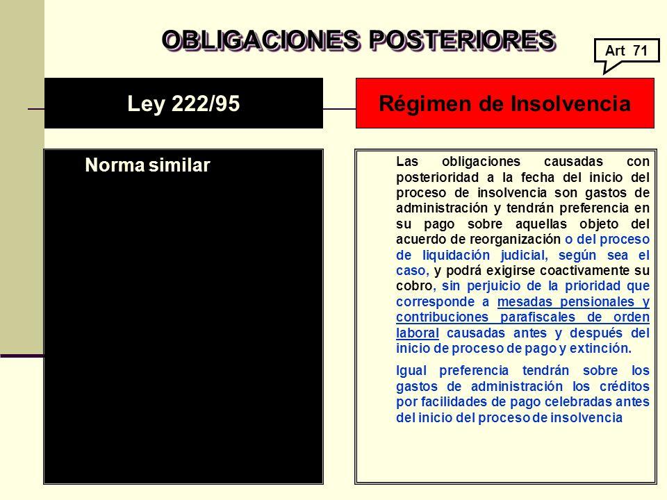 OBLIGACIONES POSTERIORES Régimen de Insolvencia