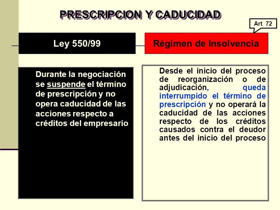 PRESCRIPCION Y CADUCIDAD Régimen de Insolvencia