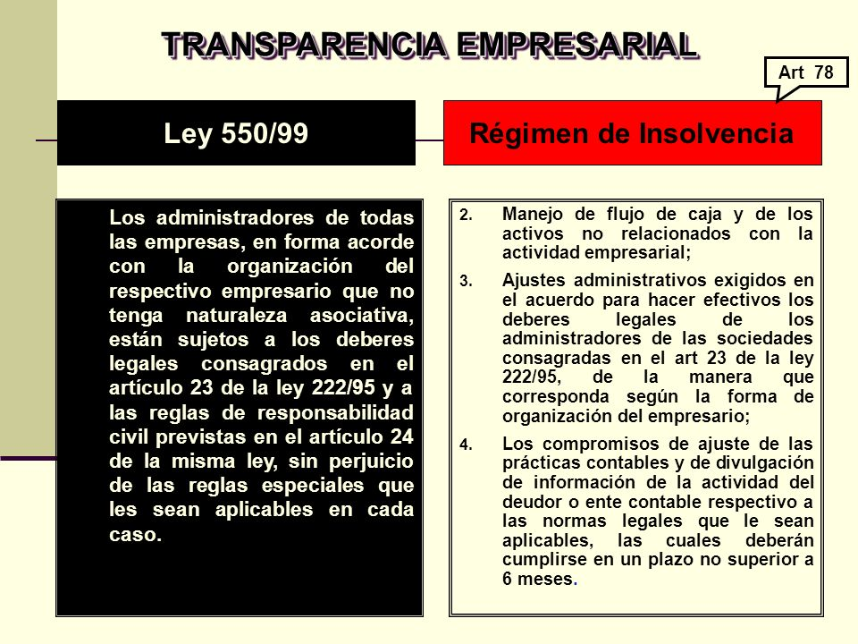 TRANSPARENCIA EMPRESARIAL Régimen de Insolvencia