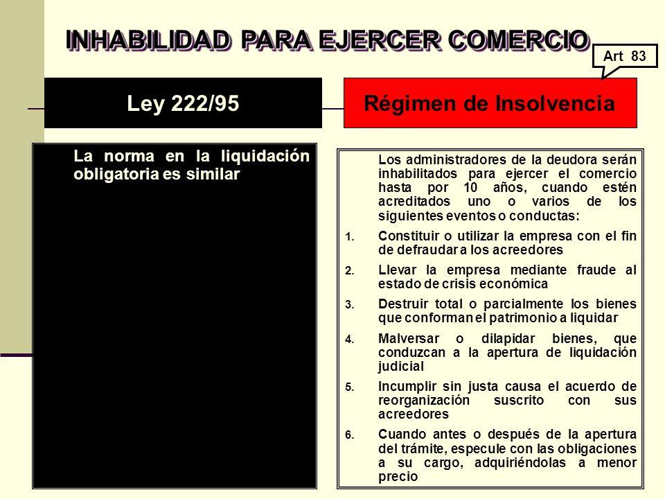 INHABILIDAD PARA EJERCER COMERCIO Régimen de Insolvencia