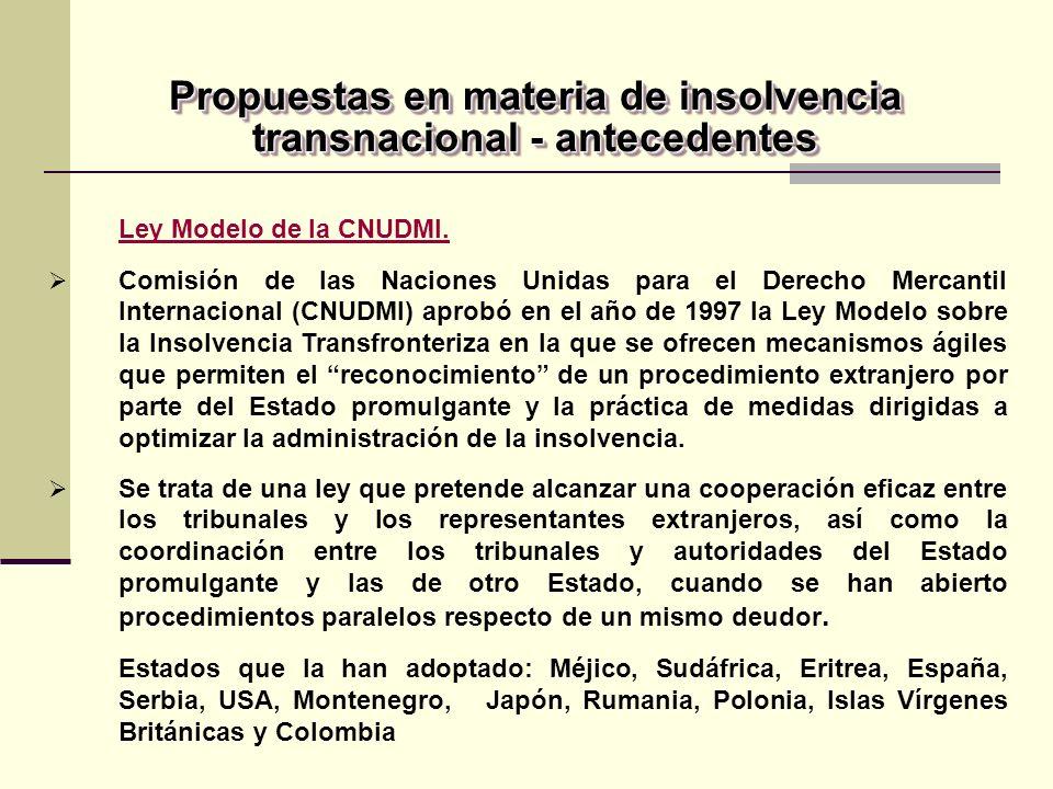 Propuestas en materia de insolvencia transnacional - antecedentes
