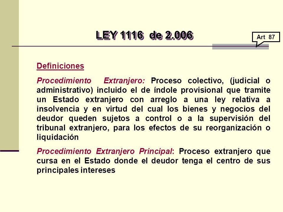 LEY 1116 de 2.006 Art 87. Definiciones.