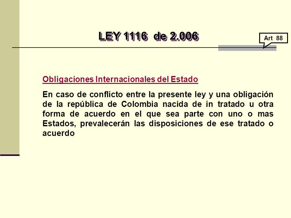 LEY 1116 de 2.006 Obligaciones Internacionales del Estado