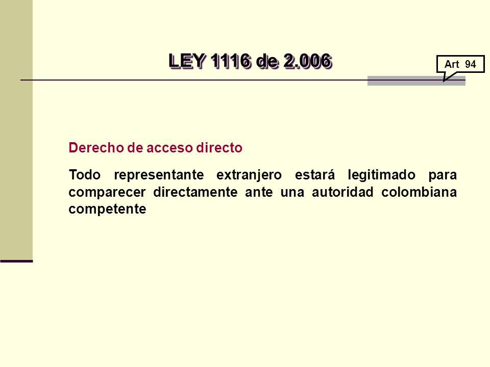 LEY 1116 de 2.006 Derecho de acceso directo