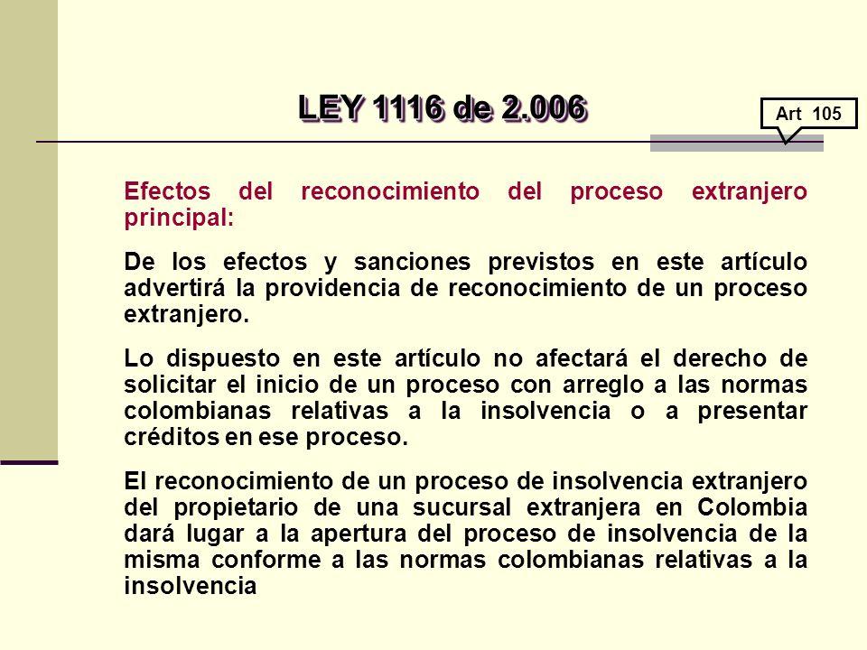 LEY 1116 de 2.006 Art 105. Efectos del reconocimiento del proceso extranjero principal: