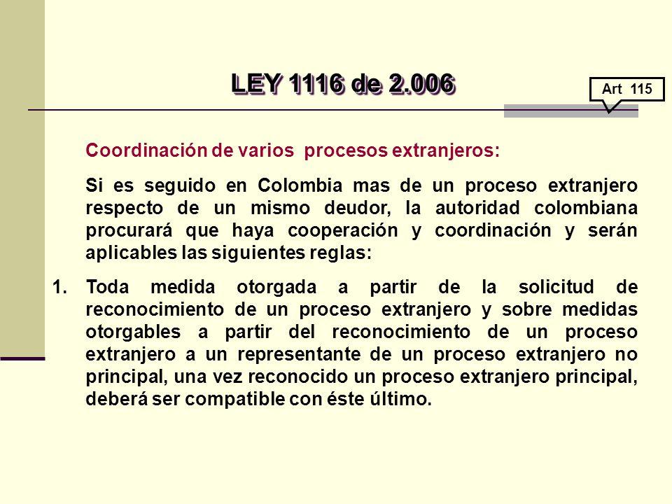 LEY 1116 de 2.006 Coordinación de varios procesos extranjeros: