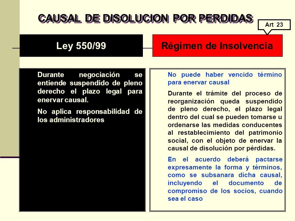 CAUSAL DE DISOLUCION POR PERDIDAS Régimen de Insolvencia