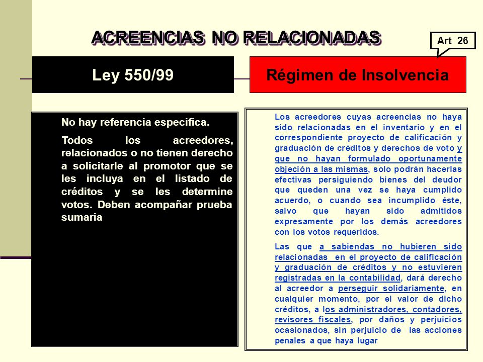 ACREENCIAS NO RELACIONADAS Régimen de Insolvencia