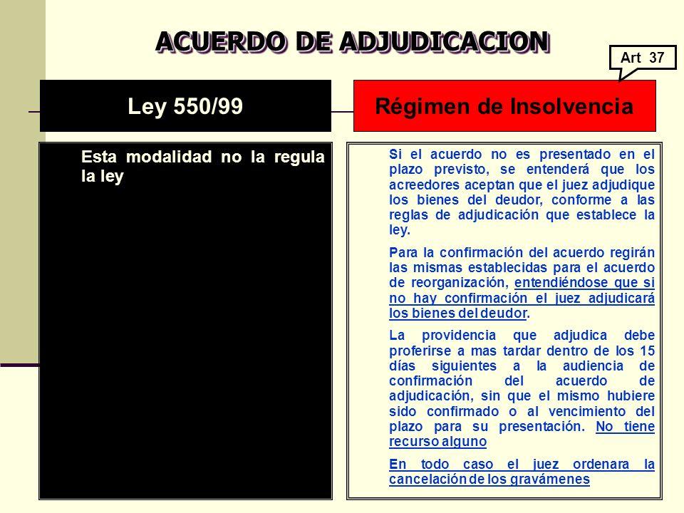 ACUERDO DE ADJUDICACION Régimen de Insolvencia