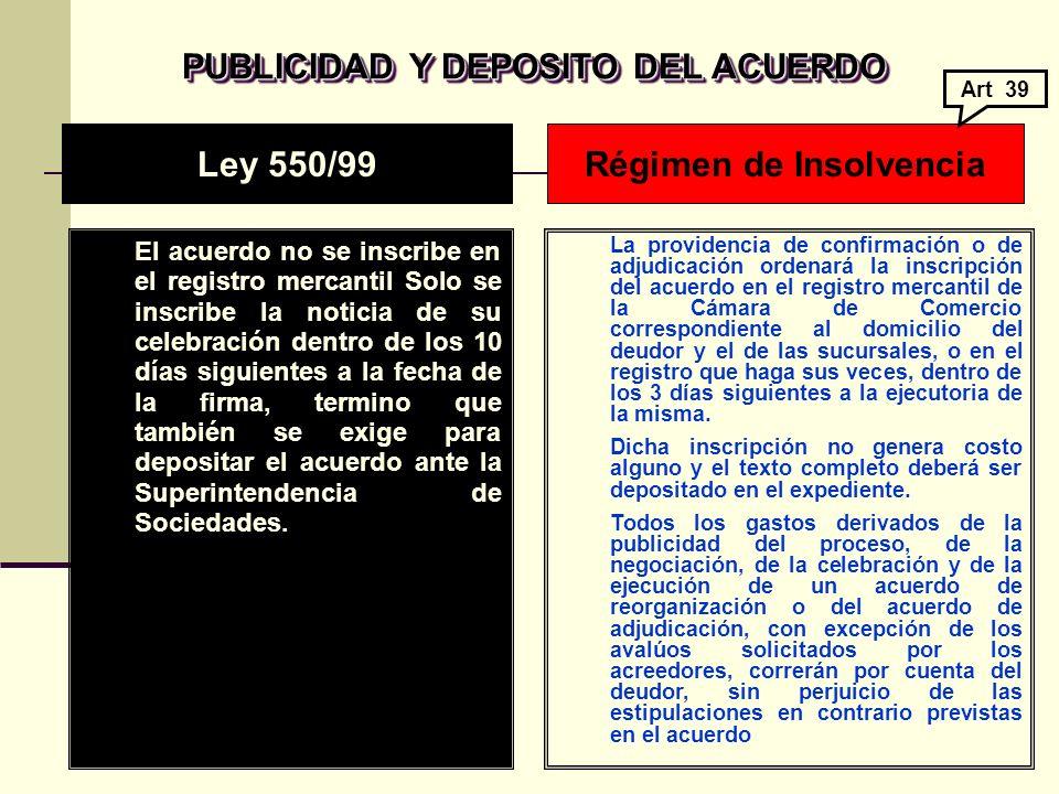 PUBLICIDAD Y DEPOSITO DEL ACUERDO Régimen de Insolvencia