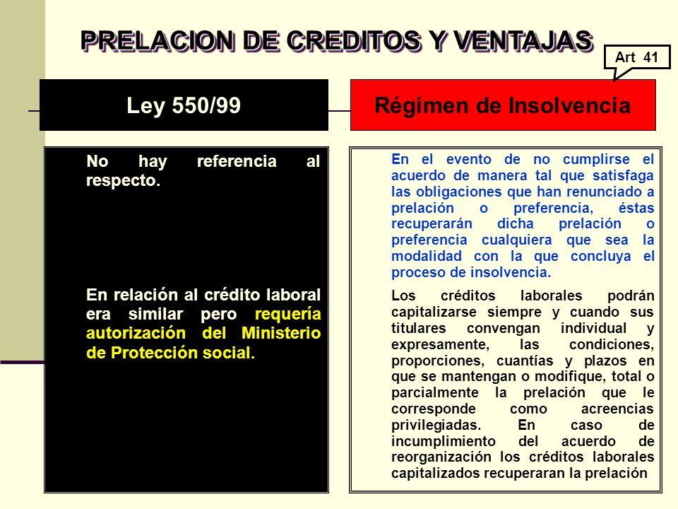PRELACION DE CREDITOS Y VENTAJAS Régimen de Insolvencia